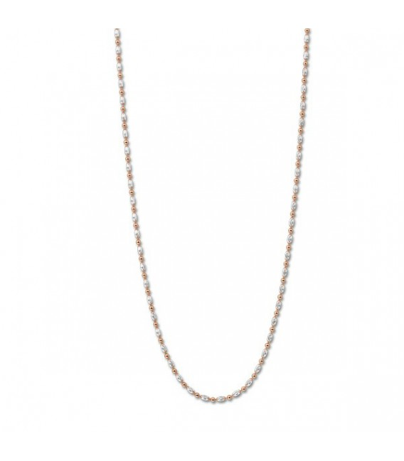 NECKLACE SILVER ROSEGOLD PLATED OBL. 80C