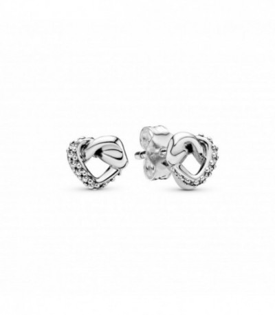 KNOTTED HEARTS SILVER STUD EARRINGS