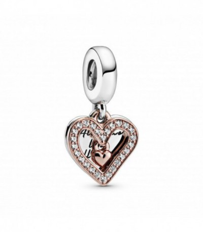 HEART PANDORA ROSE AND STERLING SILVER